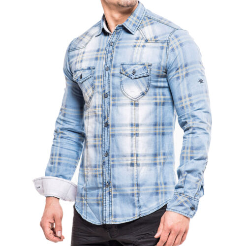 KDWN Uomo Jeans Camicia Polo Tempo Libero used STYLE T-shirt 14045 blu chiaro