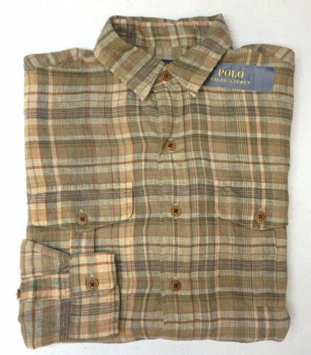 NWT $125 Polo Ralph Lauren Brown Plaid Shirt Mens Size S M L XL XXL Linen LS NEW