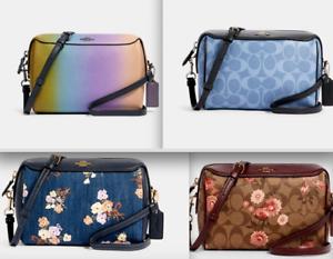 NWT-Coach-BENNETT-Crossbody-Bag-Denim-Floral-Ombre-Leather-satchel-tote-handbag