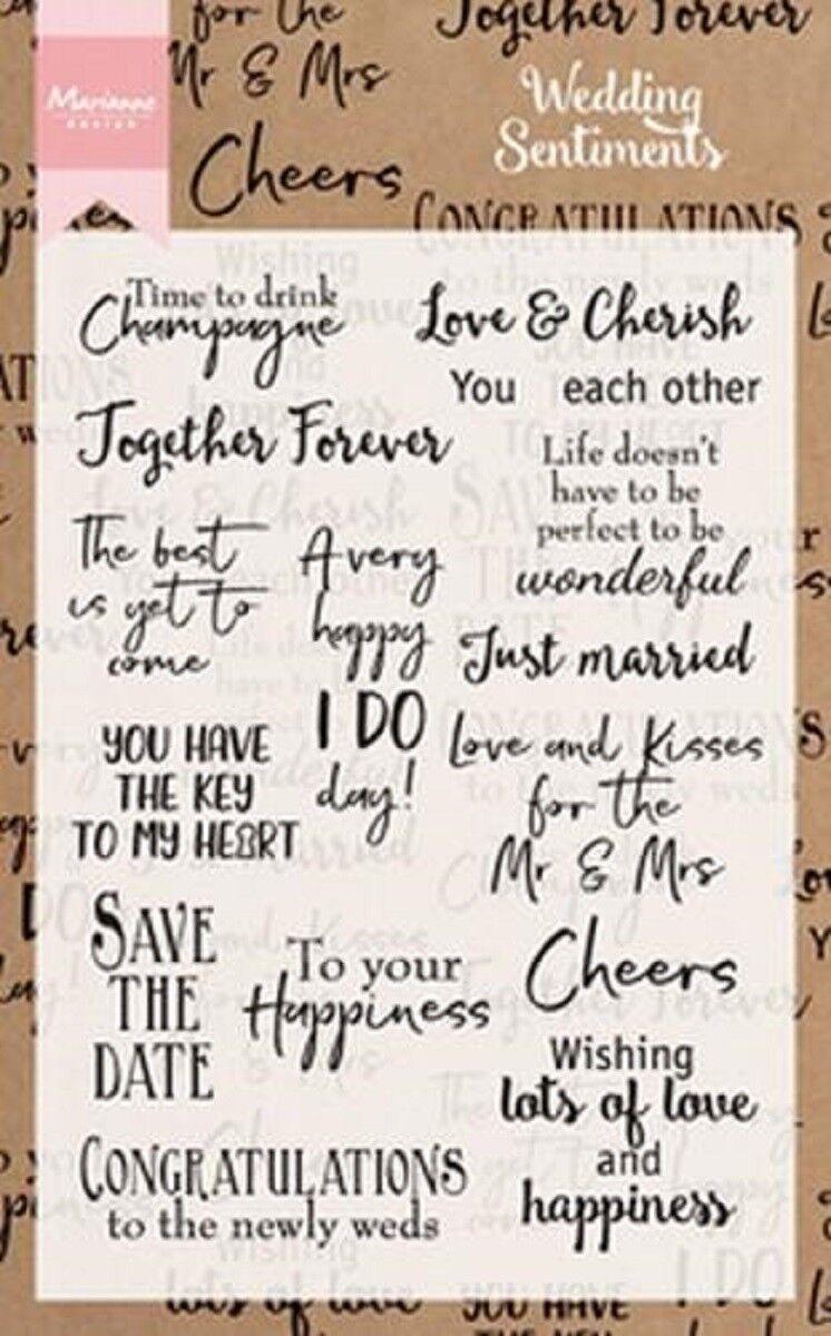 Marianne Design Clear Cling Stamp Wedding Sentiments 16pcs Cs0999