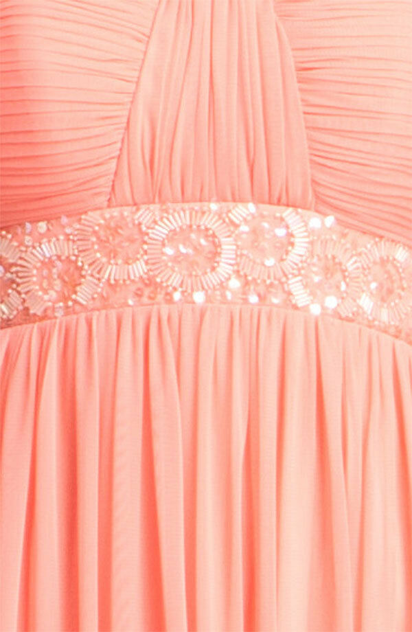 JS Boutique Strapless Beaded Mesh Gown Dress Soft Peach Peach Peach Size 10 be4b56