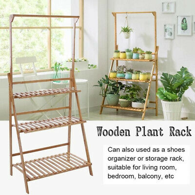 3 Tier Folding Plant Bamboo Hanging Shelf Stand Flower Pot Display Storage Rack Ebay