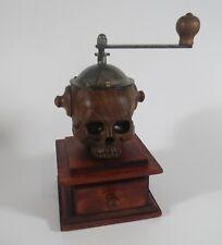 Moulin à café tête de mort sculpté bois ormeau pièce unique vanité coffee grinde