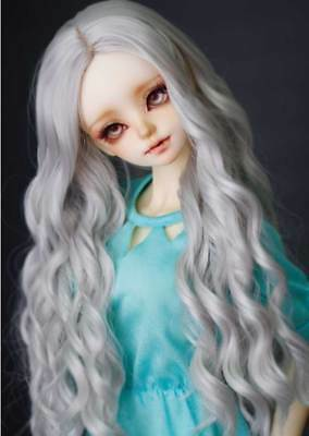 "1//4 7-8/"" BJD Doll Wig Soft Milky Blonde Spiral Curls Wavy Hair Long Elegant RUV7"