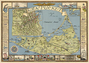 Pictorial-Map-Nantucket-Fishing-Nautical-Theme-Ships-Wall-Art-Print-Poster-Decor