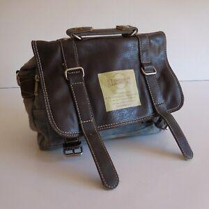 Sac-a-main-femme-EARTHSPORT-bleu-marron-jean-cuir-vintage-design-XXe-N3705