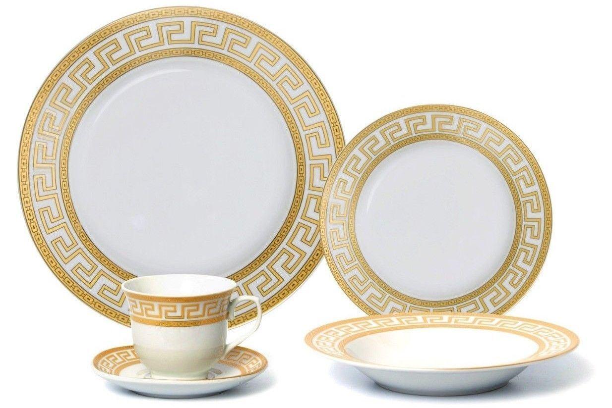 Euro Porcelain 20-pc Athena White Dinnerware Set Service for 4, Greek Key gold