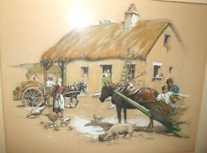 antique-original-Doherty-figural-farm-scene-watercolor-drawing-painting-horse