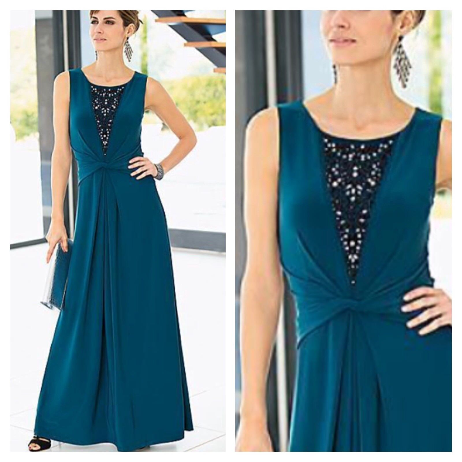 Together Size 8 Teal Bead Embellished Maxi Evening Occasion DRESS Xmas Party