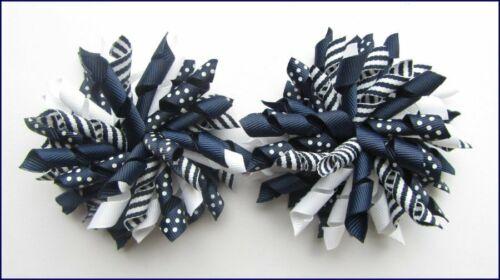 NAVY BLUE DOT STRIPE SCHOOL UNIFORM WHITE RIBBON CORKER KORKER CHEER HAIR BOWS
