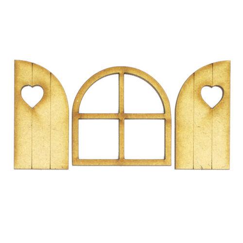Fairy ventanas con postigos Corte Láser de MDF de 3mm ir perfectamente con puertas de hadas