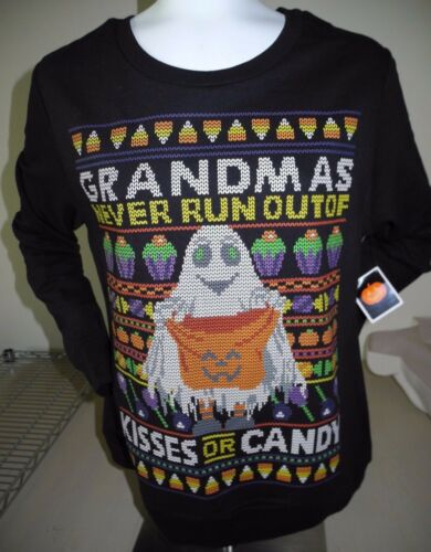 GRANDMAS NEVER RUN OUT Of KISSES Or CANDY Halloween PULLOVER WOMEN/'S L NEW W//TAG