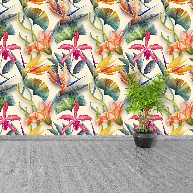 Vlies-Fototapete Fototapeten Tapete aus Vlies Poster Foto Tropische Blumen