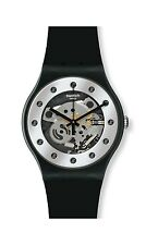 Swatch Glam Silver Unisex Rubber Watch, Skeleton Dial, Silicone Band, SUOZ147