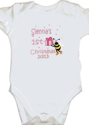 Bee Design Baby/'s First Christmas Bodysuit - add any name change colours