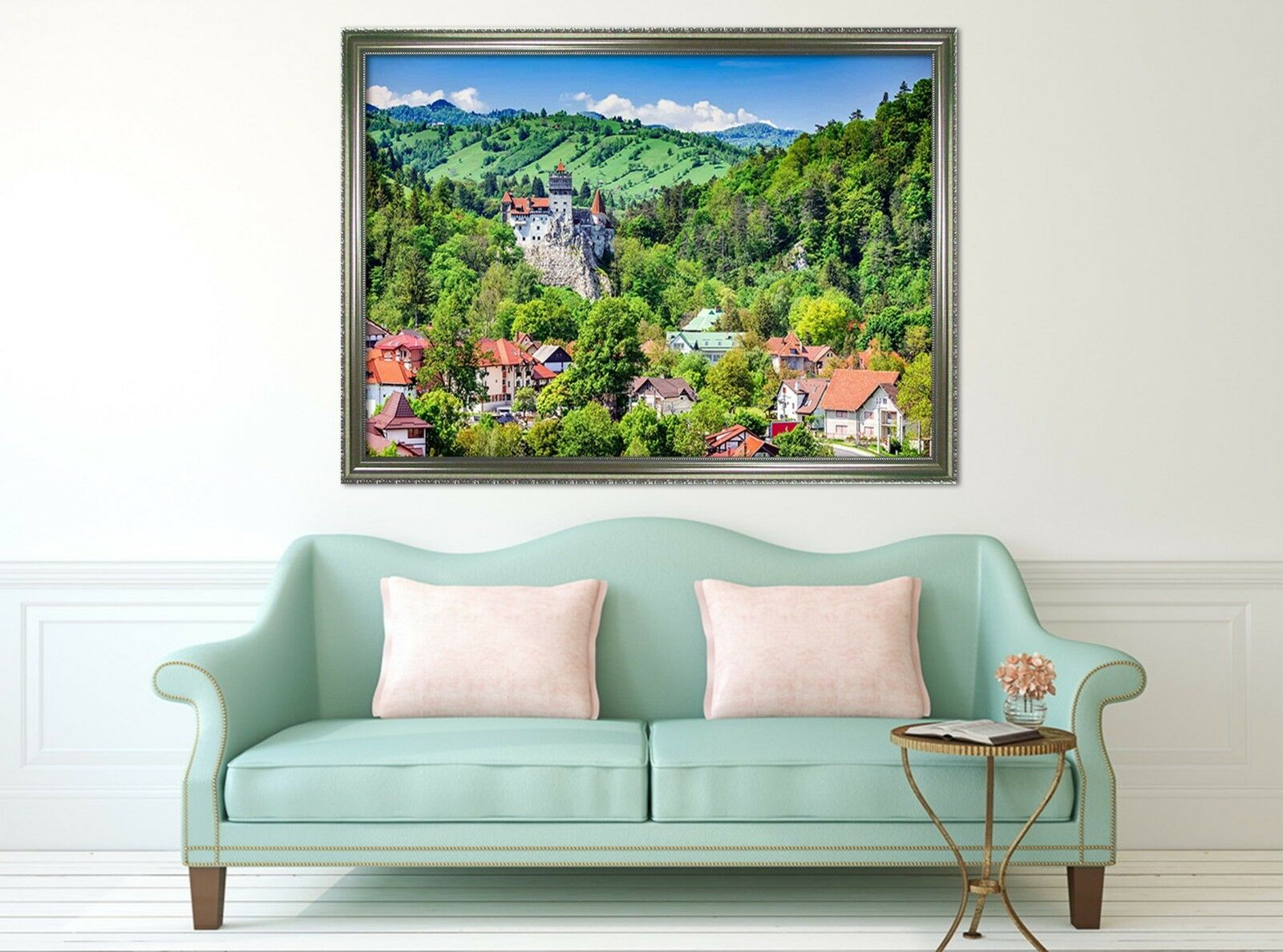 3D rojo House verde Woods 1 Póster Enmarcado Decoración del Hogar Pintura de Impresión Arte Wallpaper
