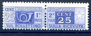 ITALIA-1947-PACCHI-POSTALI-25-Cent-RUOTA-NUOVO