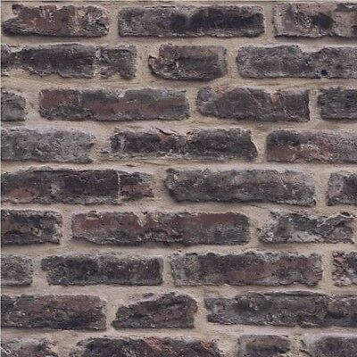 Dark Red Brick Wallpaper Textured Washable Vinyl J34408