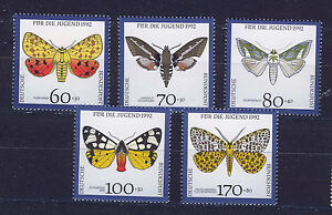 ALEMANIA-RFA-WEST-GERMANY-1992-MNH-SC-B728-B732-Endangered-butterflies