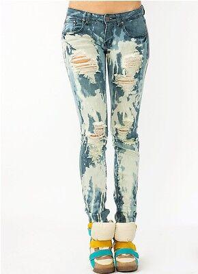 New!Mid Rise Bleached Vintage Distressed Fashion Skinny Denim Machine Jean Pants