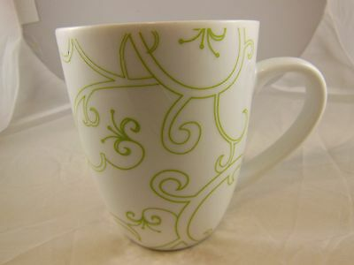 Beautiful Green & White Curly-Q Mug Cup Rachael Ray Collection