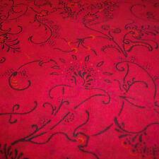 CHIFFON SWIRLY FLORAL PRINT -RED -DRESS FABRIC-FREE P&P