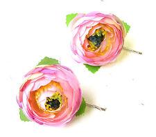 2 x Light Pink Ranunculus Flower Hair Grips Clips Bobby Pins Slides Rosebud 1777
