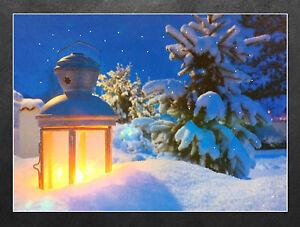 led wandbild mit beleuchtung laterne im schnee leuchtbild 40x30 cm ebay. Black Bedroom Furniture Sets. Home Design Ideas