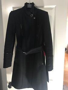 avec en laine manteau en noir des Haan détails Cole cuir w4SXU8qRxn
