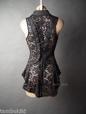 Black Sheer Lace Corset Back Neo Victorian Steampunk Goth Top 13 mv Blouse S M L