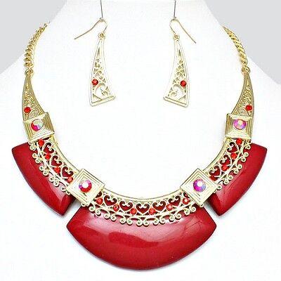 Ruby Red & Gold Enamel and Rhinestone Choker Collar Necklace Set Elegant Jewelry