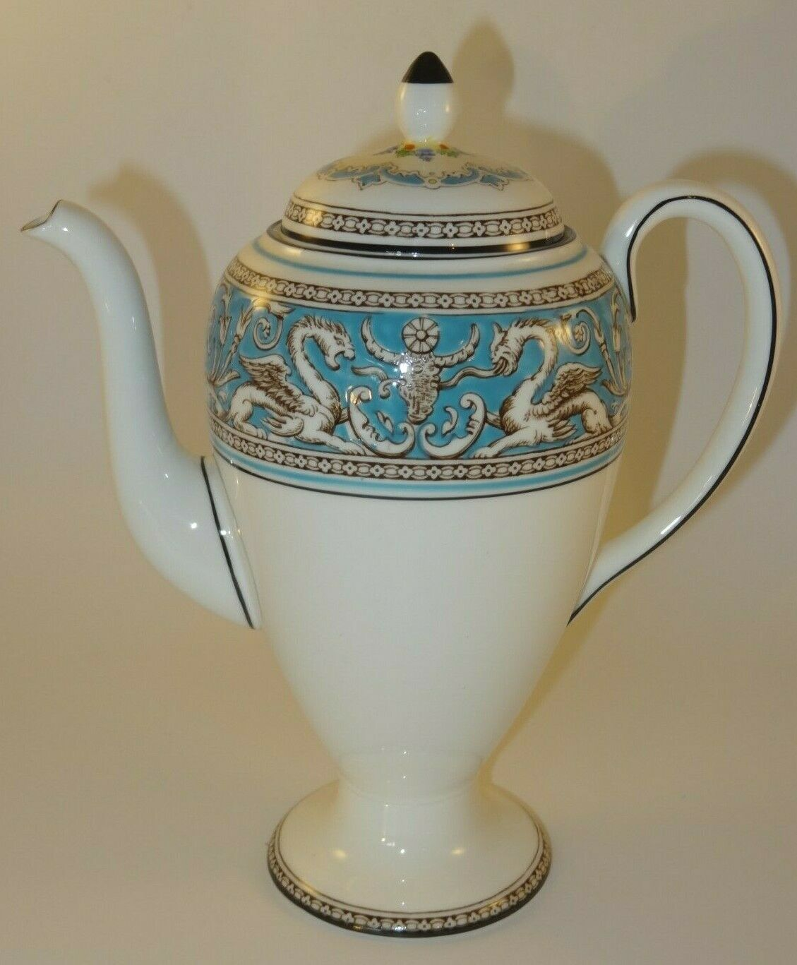 Image 1 - Wedgwood Florentine W2714 Turquoise Coffee Pot 1960s Excellent