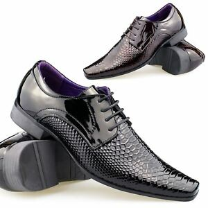 Hombres italian patent shiny leather snake shoes slip on buckle brown black smart yI9Cc