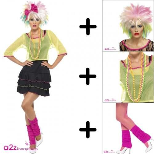 Womens 1980s 80/'s Pop Tart Madonna Retro Adult Fancy Dress Costume Wig Specs
