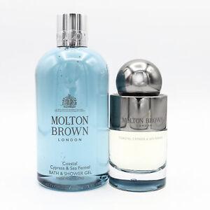Molton Brown Coastal Cypress & Sea Fennel Fragrance & Shower Gel NEW Damaged Box