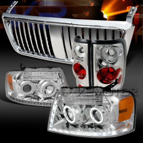 Fit 04-08 F150 Chrome Halo LED Projector Headlights+Tail Lamps+Hood Grille