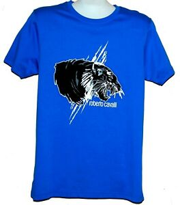 Roberto-Cavalli-Blue-Black-Animal-Print-Design-Men-039-s-Cotton-Shirt-T-Shirt-Sz-XL