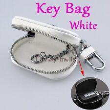 Zipper PU Leather Car Key Bag Case Holder Cover White Pocket fit Audi BMW BENZ