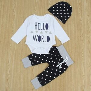 2ca4818c3f56 Newborn Baby Girls Hello World Tops Romper +Pants+Hat 3Pcs Outfits ...