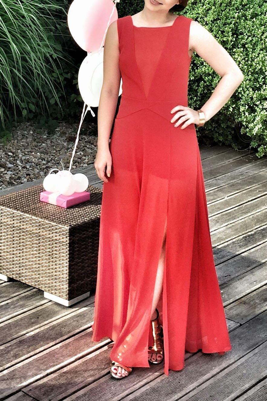 BCBGMAXARIA Halee Abendkleid Jumpsuit XS US 0 rot wie neu