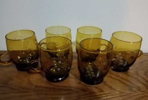 Vintage Brown Etched Espresso Coffee Glasses Set of six