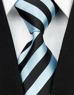 NT050 Blue Black Stripe New Jacquard Woven 100%Silk Classic Necktie Man's Tie