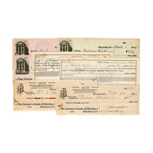 1 Set 7 Assortiment Virginia Usa Banque Contrôles & Banque Documents