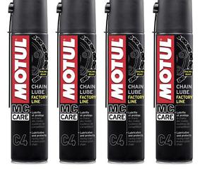 4 X 400 ML Grasso Spray per Catena Motul C4 Chain Lube Factory Line Racing Road