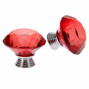 Crystal-Glass-Knobs-40mm-Red-Handle-Cupboard-Dresser-Cabinet-Drawer-Door-Pull