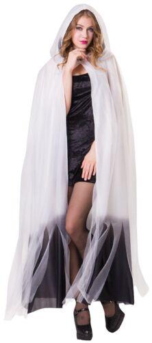 Ladies Mens Long Red White Ombre Halloween Horror Fancy Dress Costume Cape Cloak