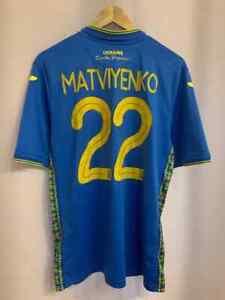 UKRAINE NATIONAL TEAM 2018/2019 HOME FOOTBALL SHIRT JERSEY SIZE L MATVIYENKO #22