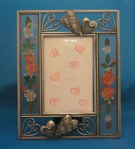 Details About Hearts Metal Photo Frame With Flowers In Glass On The Sides 4x6 Photo Window