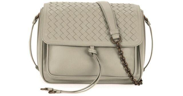 01cf41dfba91 Bottega Veneta Medium Intrecciato Flap Tie Front Shoulder Bag NEW  2150 Grey