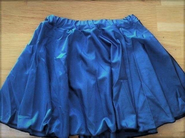 DARK BLUE Circular Skirt AGE 5-7, Girls SHINY Nylon Lycra DANCE Short Ballet Tap